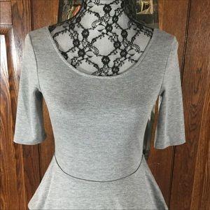 Pins & Needles Tops - UO Pins & Needles Gray Peplum Short Sleeve Top